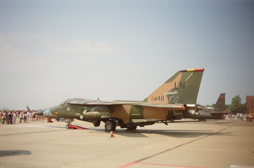 The military serial on this GD F-111, 72-448, shows that it was a batch procurred in fiscal year 1972. The 'FW' is specially added because it belongs to the 48th Tactical Fighter Wing which is based at RAF Lakenheath in the UK, which is made clear by the 'LN' at the top of the tail.