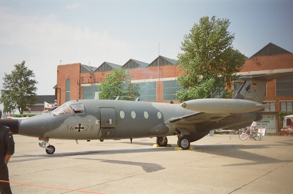 German military aircraft are easily recognisable by the insertion of the German Cross between two sets of digits. Here, 16+28, a Hansa Jet, is in the static display at the RAF Mildenhall airshow.