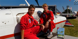 CarolAnn and Carol Foy preparing for the 2008 world record flight