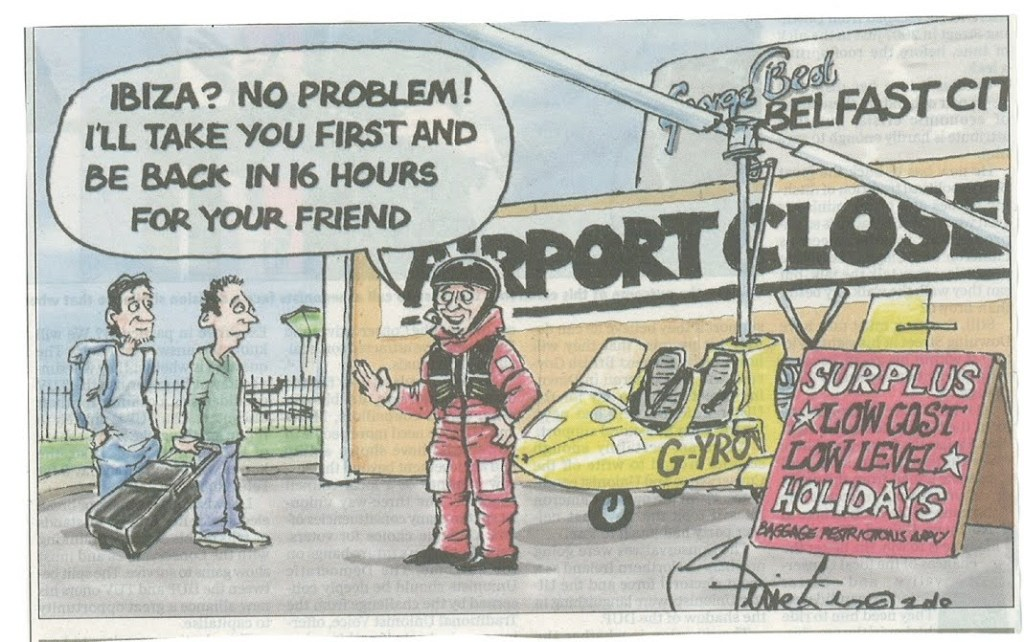 Norman even became a cartoon during the ash cloud crisis. (courtesy of Belfast Telegraph)