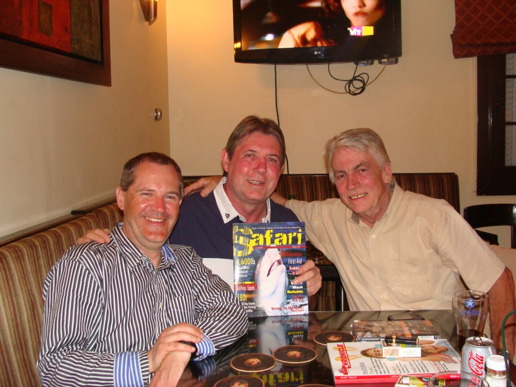 Me and Norman with the editor of Safari magazine, Derek Currie.