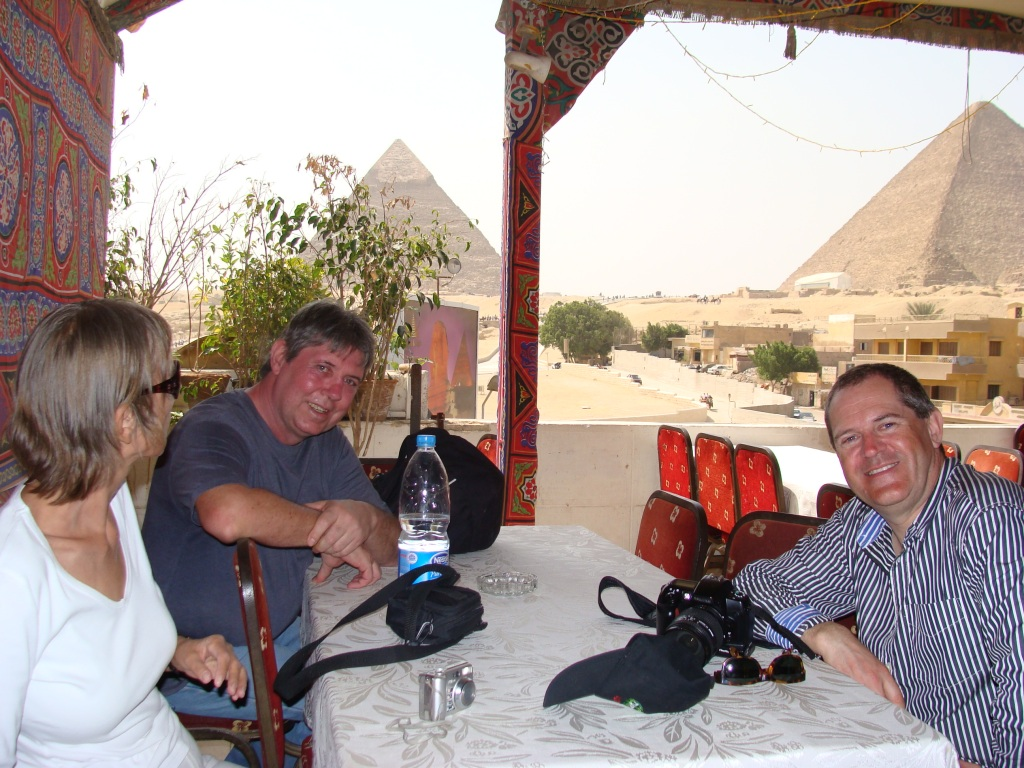Anthea, Eddie and Norman wait for their refreshments with a spectacular backdrop for their meal.