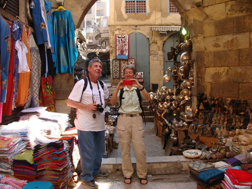 CarolAnn with Eddie in the Khan El Khalili, Africa's biggest Souq