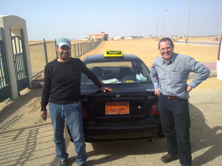 Norman with our new driver, Karim. It was this taxi drivers lucky day.