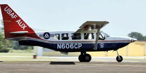 """A Civil Air Patrol Gippsland Aeronautics GA-8 """"Airvan"""" on takeoff during a mission following Hurricane Rita in 2005. Photo - U.S. Air Force/Master Sgt. Lance Cheung"""