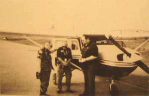 Chaplain George S. Kelly prays with CAP search pilots prior to a sortie. Photo - George Kelly