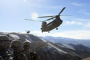 Chinook helicopters fly in to collect 101st Airborne soldiers. Photo - USA Spc. Mary L. Gonzalez, CJTF-101 Public Affairs
